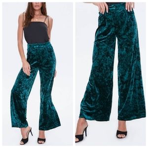 Emerald Crushed Velvet High Waist Flare Pants